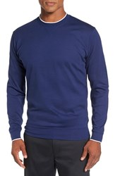 Bobby Jones Men's 'Walker' Tipped Pima Cotton Long Sleeve T Shirt Summer Navy