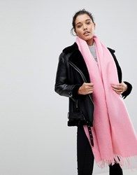 Asos Supersoft Long Woven Scarf With Tassels Pink