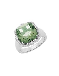 Lord And Taylor Sterling Silver Green Amethyst Diamond Ring