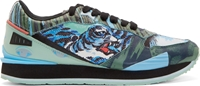 Kenzo Blue And Mint Tiger Running Shoes