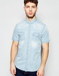 Brave Soul Washed Denim Short Sleeve Shirt Blue