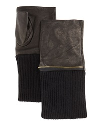 Neiman Marcus Zip Trim Leather Fingerless Gloves Black