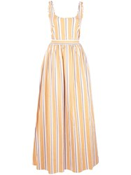 Brock Collection Striped Flared Gown Orange