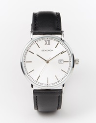 Sekonda Silver Face Black Leather Strap Watch