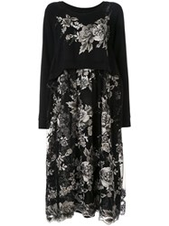 Antonio Marras Floral Embroidered Layered Dress Black