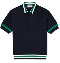 Tomorrowland Contrast Trim Knitted Cotton Polo Shirt Blue