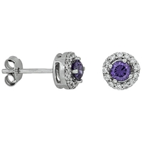 Jools By Jenny Brown Pave Surround Round Cubic Zirconia Stud Earrings Amethyst