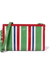 Balenciaga Bazar Striped Textured Leather Shoulder Bag Green