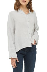 Topshop Women's Crinkle Shirt Grey