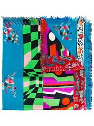 Pierre Louis Mascia Stripe And Floral Fringed Scarf