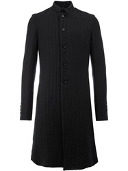 Masnada Ribbed Fitted Coat Men Cotton Linen Flax Virgin Wool 46 Black
