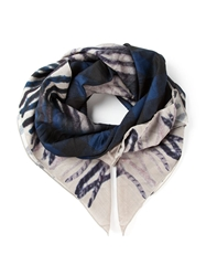 Golden Goose Deluxe Brand Check Print Scarf Blue
