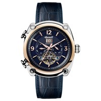 Ingersoll Men's The Michigan Automatic Chronograph Date Heartbeat Leather Strap Watch Navy