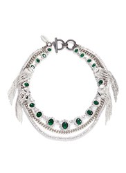 Venna Crystal Strand Jewel Fringe Necklace Green Metallic