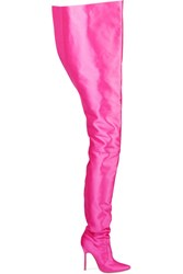 Vetements Manolo Blahnik Satin Boots Bright Pink