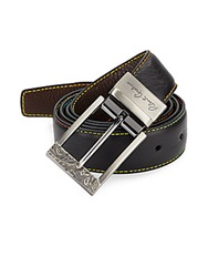 Robert Graham Multicolor Stitch Cut To Size Reversible Leather Belt Black Brown
