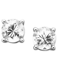 Macy's Previously Owned Lab Created White Sapphire Stud Earrings 2 Ct. T.W. In 14K Gold