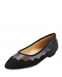 Neiman Marcus Gowyn Suede Scalloped Flat Black Blac