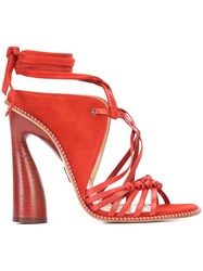 Paul Andrew Lace Up Strappy Sandals Women Wood Leather Calf Suede 37 Red