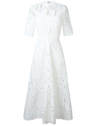 Temperley London Berry Lace Neck Tie Dress White