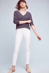 Anthropologie Mother Looker High Rise Ankle Fray Jeans White