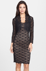 Alex Evenings Sequin Lace Sheath Dress And Bolero Petite Black