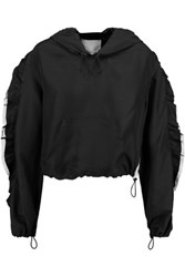 3.1 Phillip Lim Ruffle Trimmed Silk Shell Hooded Jacket Black