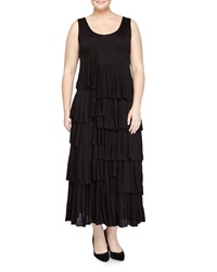 Chelsea And Theodore Sleeveless Ruffle Tiered Maxi Dress Black
