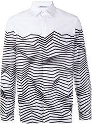 Neil Barrett Cotton Shirt With Abstract Print White