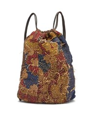 By Walid Jim French Tapestry And Leather Drawstring Bag Blue