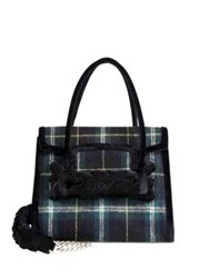 Miu Miu Plaid Wool And Velvet Satchel Blue Tartan