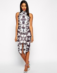 Asos Bodycon Dress In Scuba Mirror Print With High Neck