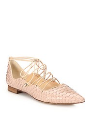 Alexandre Birman Scalloped Python Lace Up Flats Nude