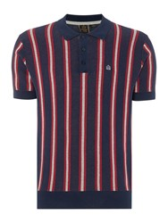 Merc Mens Knitted Boating Stripe Polo Navy