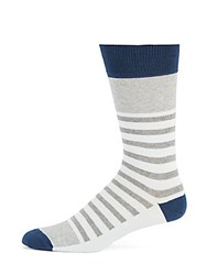 Saks Fifth Avenue Made In Italy Striped Colorblock Socks Light Blue