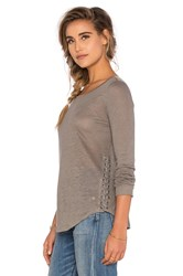 Generation Love Cole Lace Up Top Gray