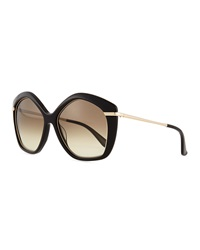 Salvatore Ferragamo Pentagon Butterfly Sunglasses Black