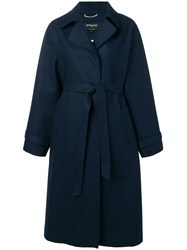 Rochas Belted Trench Coat Blue