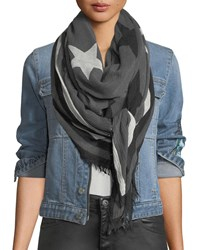 Zadig And Voltaire Delta Two Tone Stars Scarf Noir