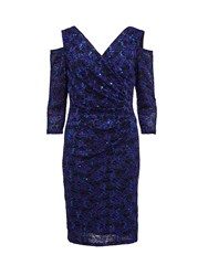 Gina Bacconi Cutout Shoulder Lace Dress Blue