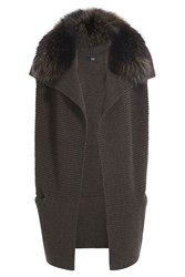 Steffen Schraut Merino Wool Cape With Fur Trim Brown