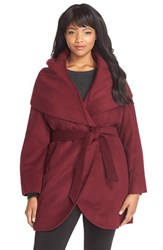 Plus Size Women's Tahari 'Marla' Cutaway Wrap Coat With Oversized Collar Red