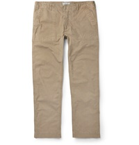 Officine Generale Slim Fit Cotton Twill Trousers Neutrals
