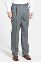 Berle Men's Big And Tall Self Sizer Waist Pleated Wool Gabardine Trousers Medium Grey