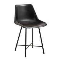 Nordal Leather Chair With Iron Legs Black