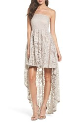 Sequin Hearts Women's Strapless Lace High Low Dress Silver Mauve