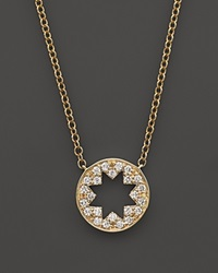 Bloomingdale's Diamond Open Star Pendant Necklace In 14K Yellow Gold .15 Ct. T.W.