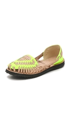 One By Ix Style Woven Leather Huarache Flats Yellow Neon