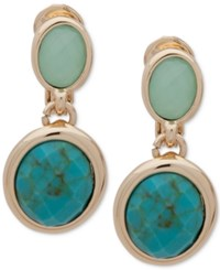 Anne Klein Gold Tone Colored Stone Clip On Drop Earrings Turquoise