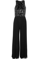 Mikael Aghal Sequin Embellished Pleated Chiffon Jumpsuit Black